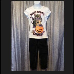 Justice Bottoms - Justice Halloween tee and black jeans Size 10
